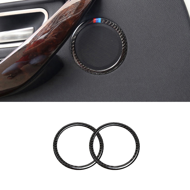 Image 2 - For BMW 3 Series E90 2005 2006 2007 2008 2009 2010 2011 2012 X1 E84 2pcs Carbon Fiber Car Door Speaker Ring Loudspeaker Cover-in Interior Mouldings from Automobiles & Motorcycles
