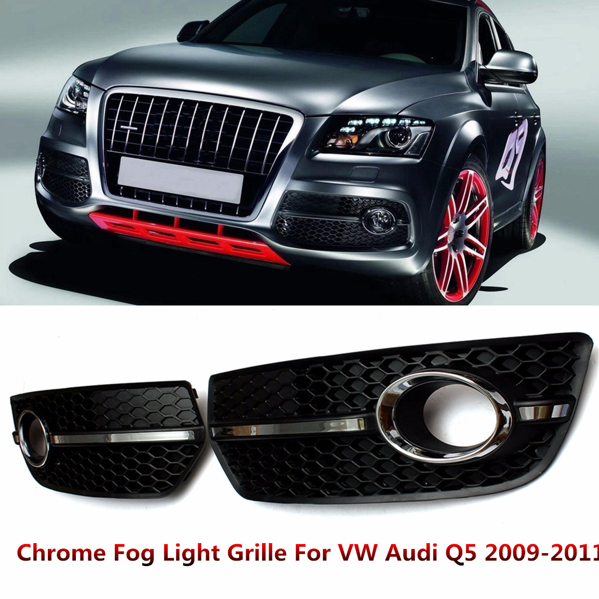 Pair Chrome Fog Light Cover S LINE Style Grille Grill for VW for Audi Q5 2009 2010 2011 Lamp Hoods