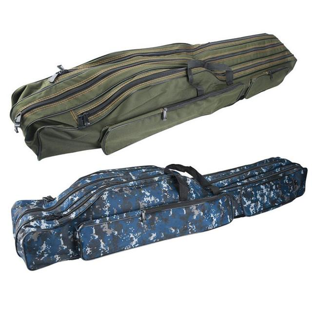 Special Price 90cm/110cm/130cm Collapsible Soft Fishing Bag Army Green Camouflage Double or Three Layers Large Capacity Bag for Fishing Gear