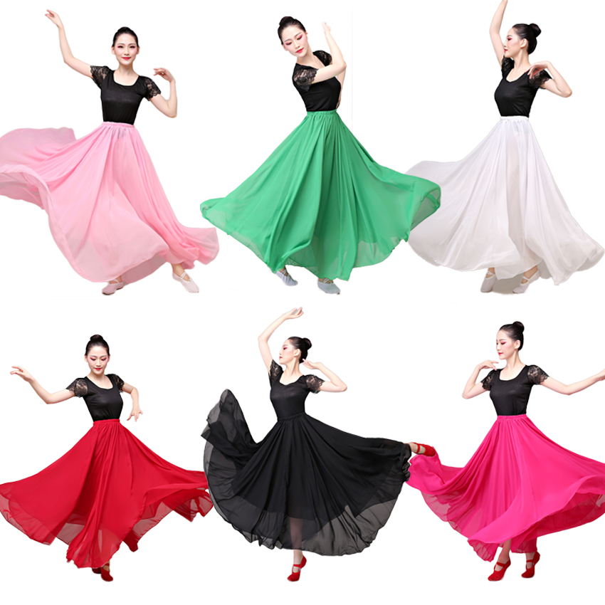 9 Colors Double Layer Chiffon Plus Size 360-720 Degrees Spanish Flamenco Skirt Solid Ballet Belly Dance Ballroom Costumes