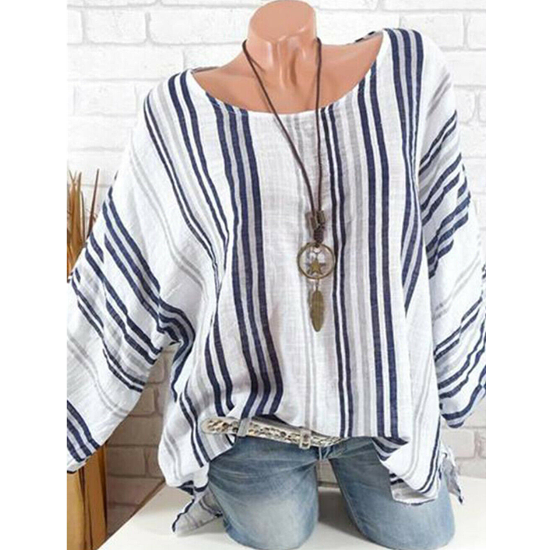 New Fashion Boho Women Striped   Blouses   Summer Long Sleeve Casual   Blouses     Shirts   Lady Soft Loose Holiday   Blouse   Tops Robe Blusas