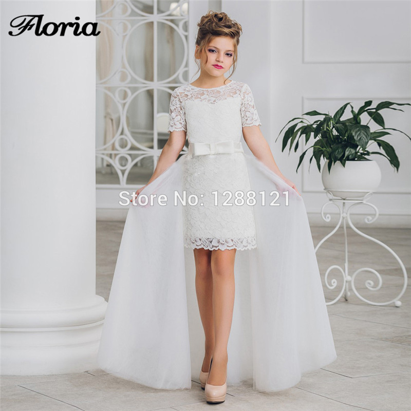 Flower Girl Dresses For Wedding 2019 New Lace Knee Length First Communion Dresses With Detachable Skirt Luxury Kids Pageant Gown