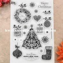 MERRY венок на рождественскую елку Giftbox скрапбук DIY фото карты резиновый чистый штамп для скрапбукинга прозрачный штамп 11x15,5 см KW8111508