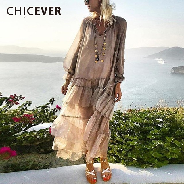 dc0af1a706368 US $25.85 45% OFF|Aliexpress.com : Buy CHICEVER Spring Patchwork Ruffles  Women's Dresses V Neck Petal Sleeve Loose Perspective Holiday Dress Fashion  ...
