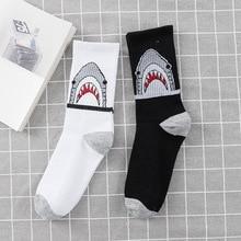 Animal Print Shark Letter Cotton High Tube Long Socks for Men and Women Korean Couple Street Skateboard Sock for Male and Female цена 2017