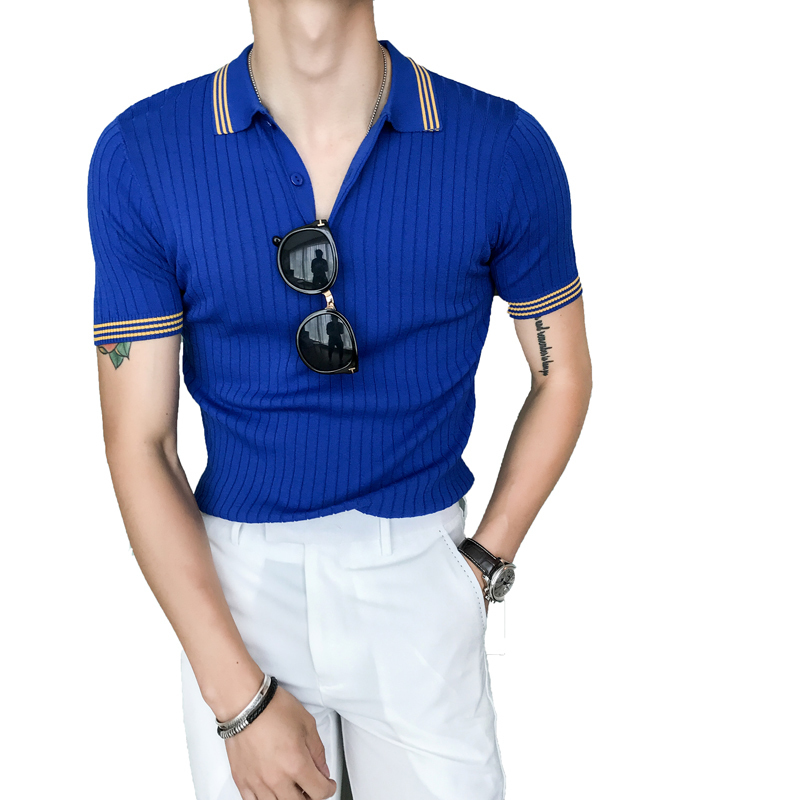 Casual Business Top Basic   POLO   Shirt Men's Short Sleeve Men's Knitting Slim Fit   Polo   Homme Top New Brand Fashion   Polo   Shirt Men