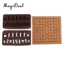 Tablero de ajedrez plegable estereoscópico Vintage, ajedrez tradicional chino, artesanía Xiangqi para Camping al aire libre, senderismo