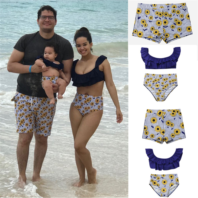 Family Matching Swimsuits Mom Dad Boy Girl Bikini 2019 Flower Bathing Suit Beachwear Women Girls Swimwear Striped Pants Bodysuit