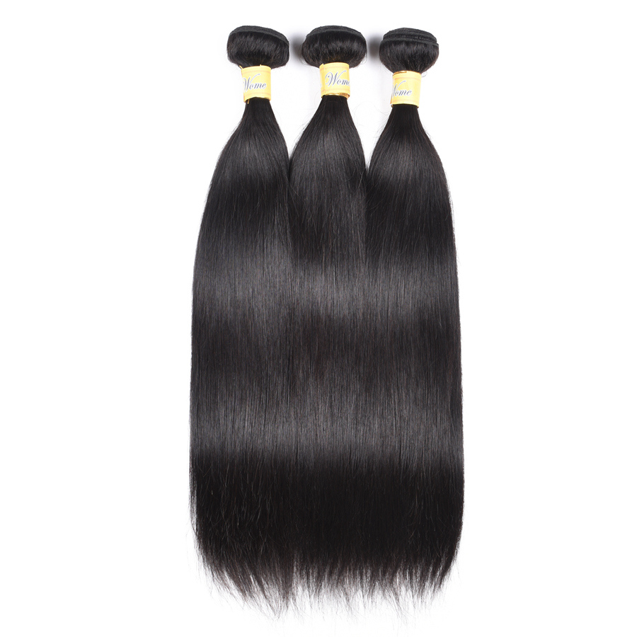Wome Malaysian Straight Hair Bundles 8-30 Inches 3 Bundles Deal Non-Remy Jet Black Human Hair Bundles No Tangle No Shedding