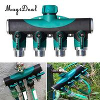 MagiDeal 3/4' 4 Way Shut Off Water Garden Water Hose Tap Universal Adapter Faucet Garden Quadruple Hose Pipe Faucet Connector