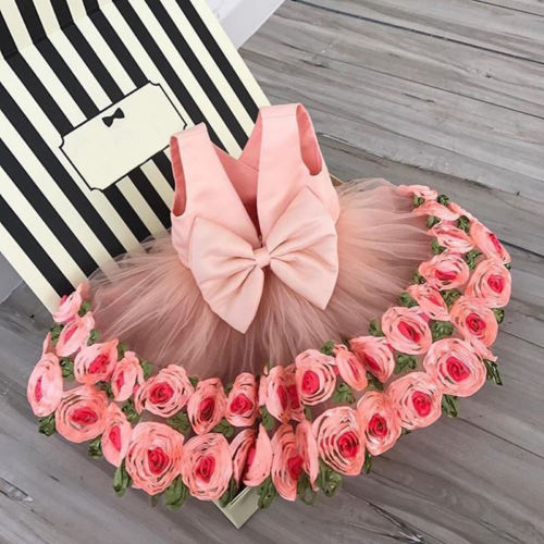 Newest Flower Mesh Ball Gown Girls Dress Princess Kids Baby Sleeveless Party Pageant Wedding  Dress