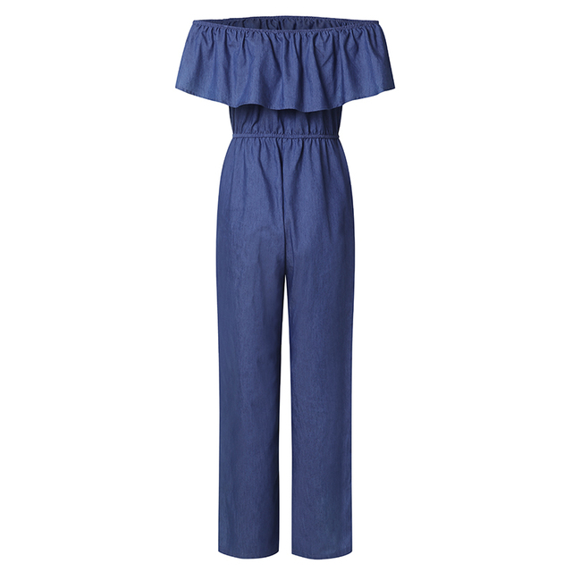 VONDA Women Rompers Jumpsuit 2018 Summer Overalls Casual Slash Neck Off Shoulder Ruffles Denim Playsuits Plus Size Wide Leg Pant 4