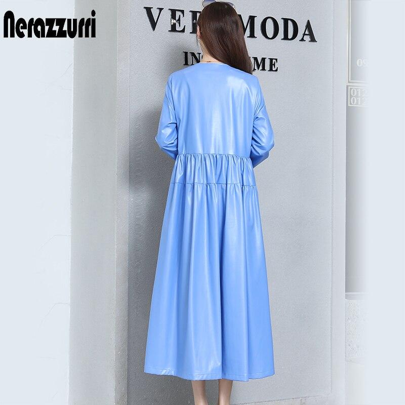 Nerazzurrri pu cuir robe femmes rouge gris noir robe de grande taille 5xl 6xl 7xl manches longues élégante plissée maxi robe automne 2019 - 2