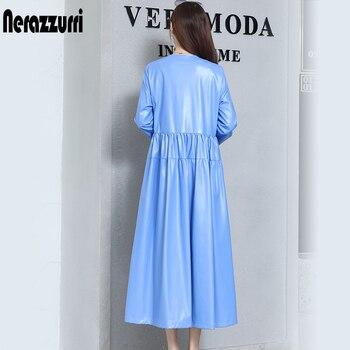 nerazzurrri pu leather dress women red gray black plus size dress 5xl 6xl 7xl long sleeve elegant pleated maxi dress fall 2019 2