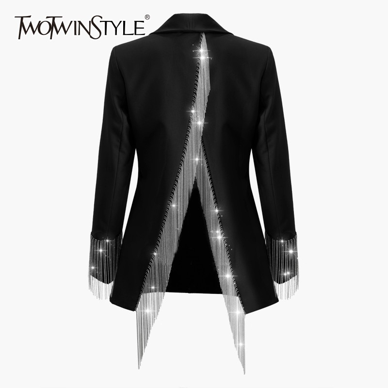 TWOTWINSTYLE Heavy Chains Tassel Coats Female Long Sleeve Single Button Backless Irregular Overcoat Women 2019 Spring