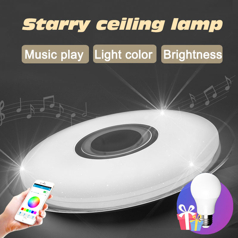 Bluetooth musique moderne led plafonniers pour le salon chambre cristal étoiles luminaires de noël décorations pour la maison
