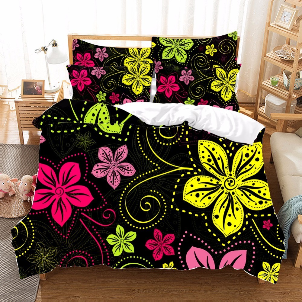 Mix Color Flower Bedding Set Pillowcase Printed Beding Set 100% Polyester Duvet Cover Set Flat sheet Twin Queen King Size DMix Color Flower Bedding Set Pillowcase Printed Beding Set 100% Polyester Duvet Cover Set Flat sheet Twin Queen King Size D