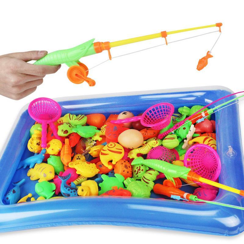 Hartig 80 Pcs Kinderen Simulatie Vissen Speelgoed Opblaasbaar Zwembad Set Magnetische Vissen Speelgoed Vierkante Park 80 Delige Set Kind Interactive Toy Volume Groot