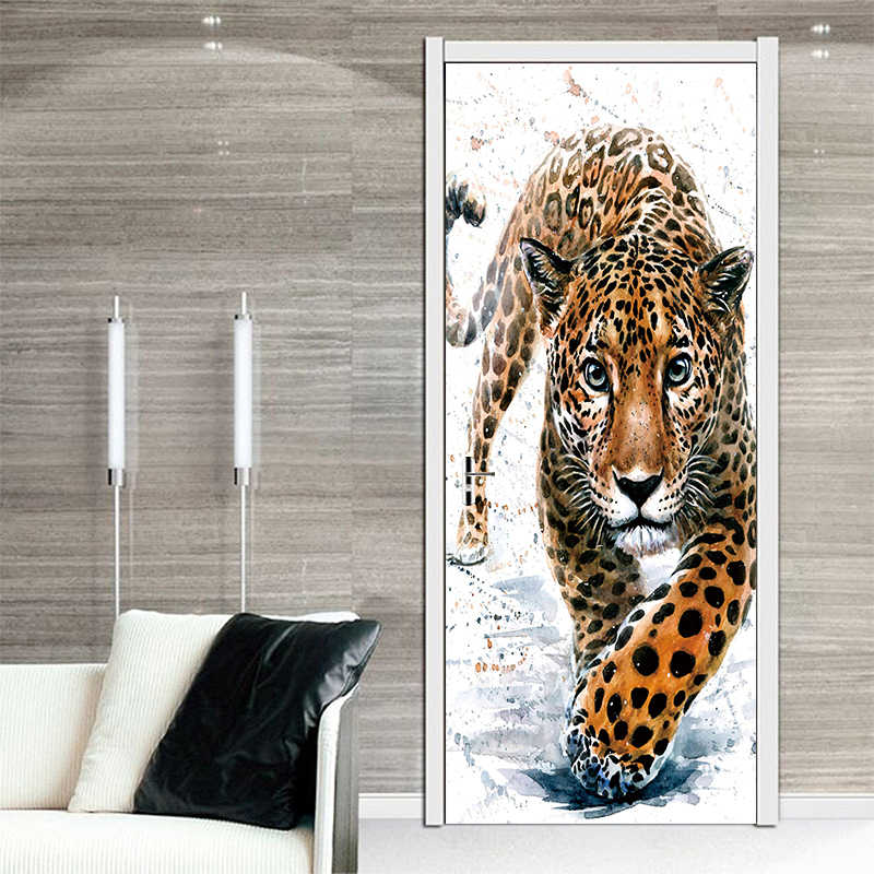 Animal Walking Cheetah Leopard Door Stickers Painting Wallpaper Poster  Panther Wall Sticker Bedroom Living Room Home Decoration