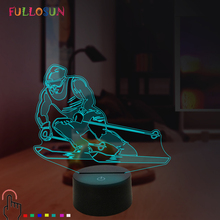 Bedroom 3D Night Lights LED Skiing Lamp 7 Color USB Table Lamp Christmas Kids Baby Gift cool creative pokemon espeon 3d lamp usb cartoon night light led 7 color touch table lamp children christmas gift hui yuan brand