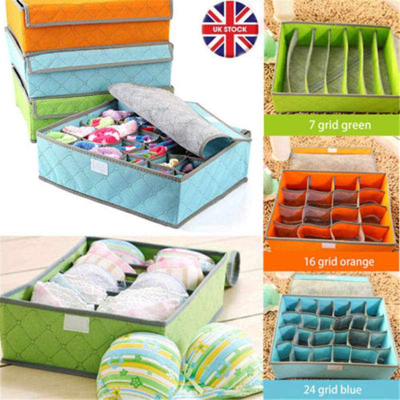 Fabric:  New Portable Folding Fabric Home Storage Box with Lid Box Bra Underwear Socks Storage Organizer - Martin's & Co