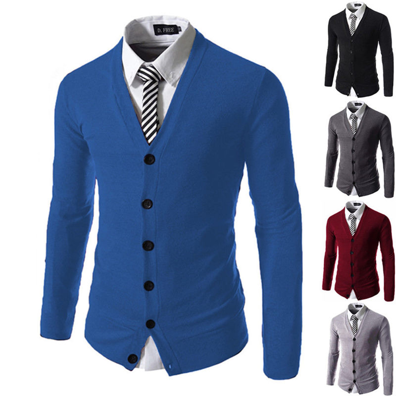 Meihuida Mens Business Work Formal Knitted Jumper Sweaters Leisure Cotton Knitwear Cardigan Comfort Button Man Sweater