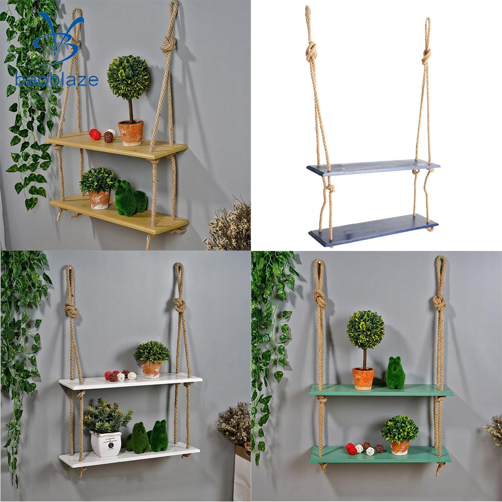 2 Layer Wall Hanging Wooden Shelves Floating Wall Shelf Home Decor shelf