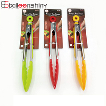BalleenShiny Silicone Food Tongs Stainless Steel Handle Colorful Bread  Fruit Nuts BBQ Roast Steak Clips Color Random