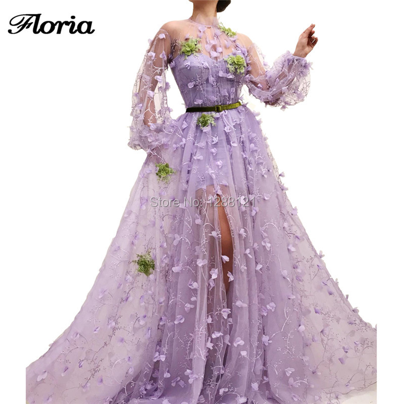 Elegant Arabic Flower Evening Dress With Long Sleeves Dubai Aibye Couture Prom Dress Robe de soiree 2019 Turkish Pageant Gowns