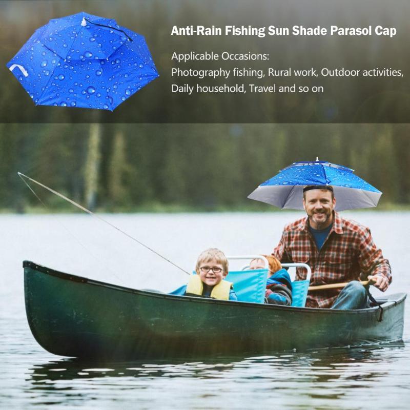 Portable Foldable Head Umbrella Hat Anti-Rain Outdoor Camping Hiking Fishing Sun Shade Parasol Brolly Cap
