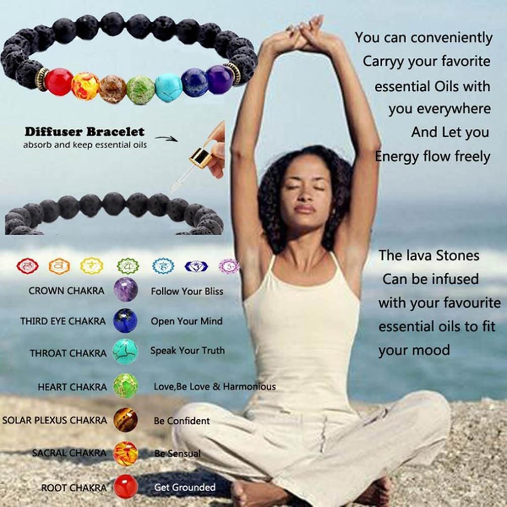 7 Чакр браслет из бисера для мужчин натуральный лавовый камень лечебные балансирующие бусины молитва рейки Будды диффузор для йоги браслет ...