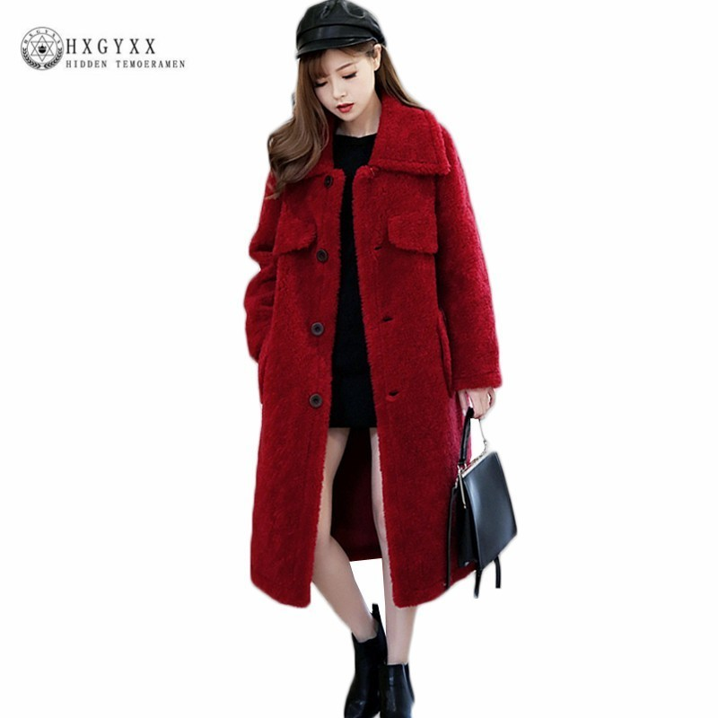 Solid Winter Sheepskin Coat Shearling Jacket Thick Warm Lamb Real Fur Parka Plus Size Single Breasted Long Overcoat 2019 OKD576
