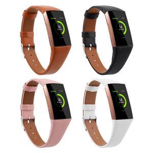 Image 1 - Leather Watch Band Para Fitbit Banda Strap Pulseira de Couro Genuíno Para Mulheres Homens Pequeno & Grande Para Fitbit Carga 3 & Charge 3 SE