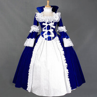 Renaissance Victorian Dress Lolita Long Ball Gown Flannel Lace Retro Vintage Dresses Long Sleeves Women Halloween Party Clothing