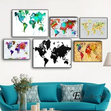 World Map Watercolor Vintage Poster Prints Oil Painting On Canvas Wall Art Murals Pictures For Living Room Decoration No Framed