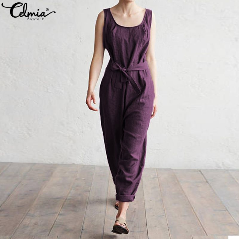 Celmia Elegant Women   Jumpsuit   With Belt 2019 Summer Office Lady Harem Pants Casual Loose Sleeveless Rompers Plus Size Overalls
