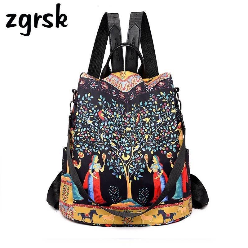 Brand Cartoon Waterproof Oxford Women Anti-theft Backpack High Quality School Bag For Women Black Multifunctional Bags