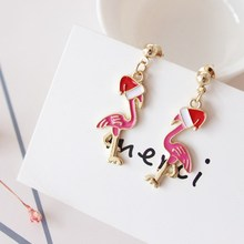 New Cute Pink Swan Earrings with Christmas Hats Flamingo Hat Pendants