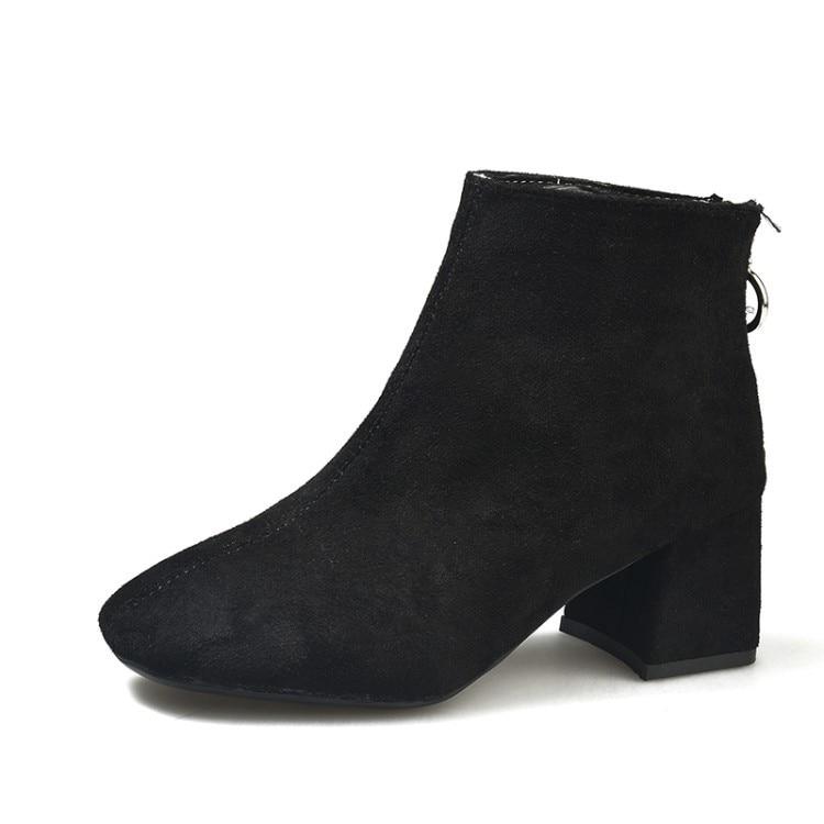 Grossier D'hiver Angleterre Courtes Color Bottes Automne apricot Brown Haute Hiver Chaussures Femme suede Suede Martin Femmes black Leather Black 5pHvpSwgq