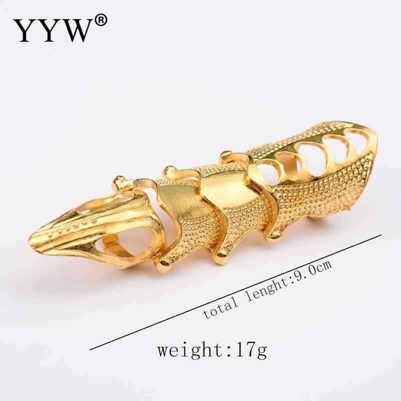 Punk Knight Skull Double Finger Ring Knuckle Armour Full Finger Ring Gothic Punk Silver/Gold Color Ghost Rings Men Women Brinco