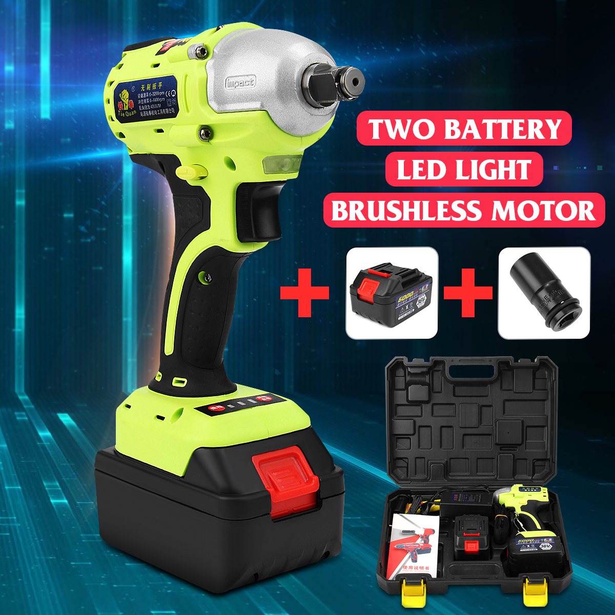 36V 1/2 inch 6000mAh Brushless Electric Wrench Cordless 2 Rechargeable Lithium Battery Hand Drill Installation Power Tools Kit taipower onda 8 inch 9 inch tablet pc battery 3 7v 6000mah 3 wire 2 wire lithium battery