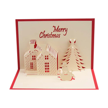 3D Pop Up Merry Christmas castle Handmade Custom Greeting Cards Gifts Souvenirs