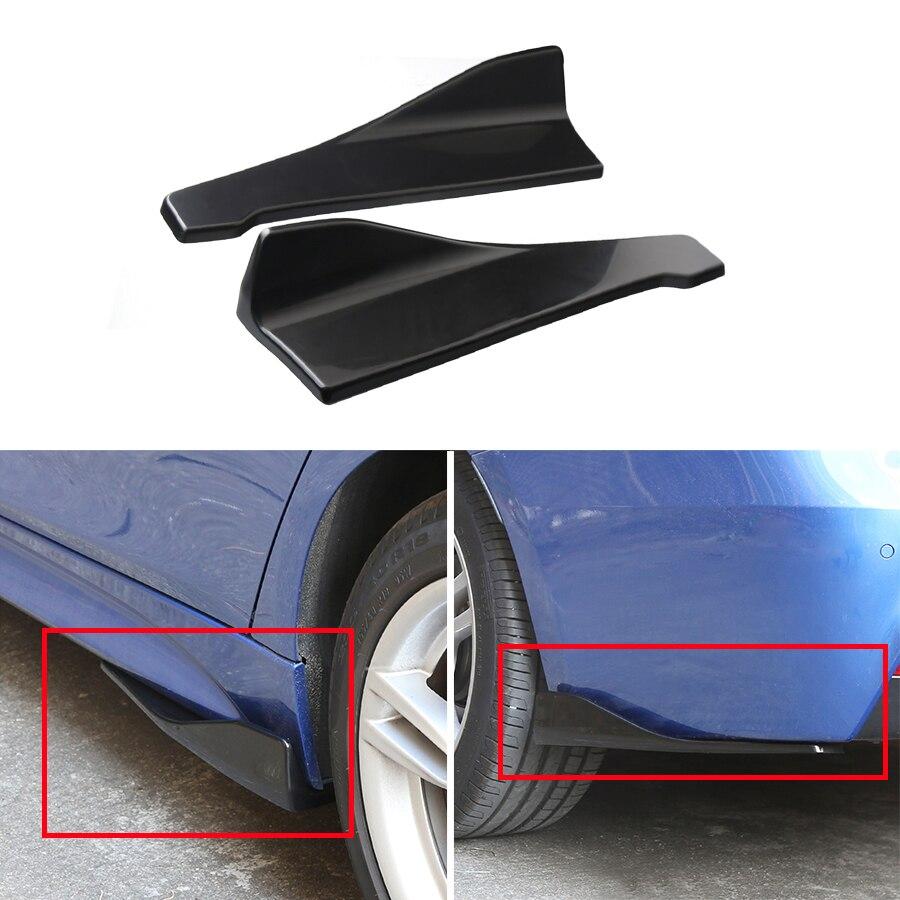 2Pcs Universal Car Bumper Spoiler wrap angle Shovel Decorative Scratch Resistant Winglet Black Side Skirt