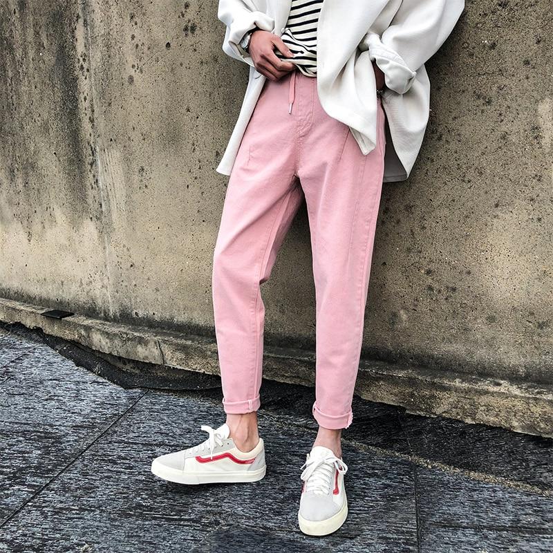 Spring New Pink Jeans Men Slim Fashion Solid Color Casual Denim Pants Man Streetwear Hip Hop Cowboy Trousers Male Clothes