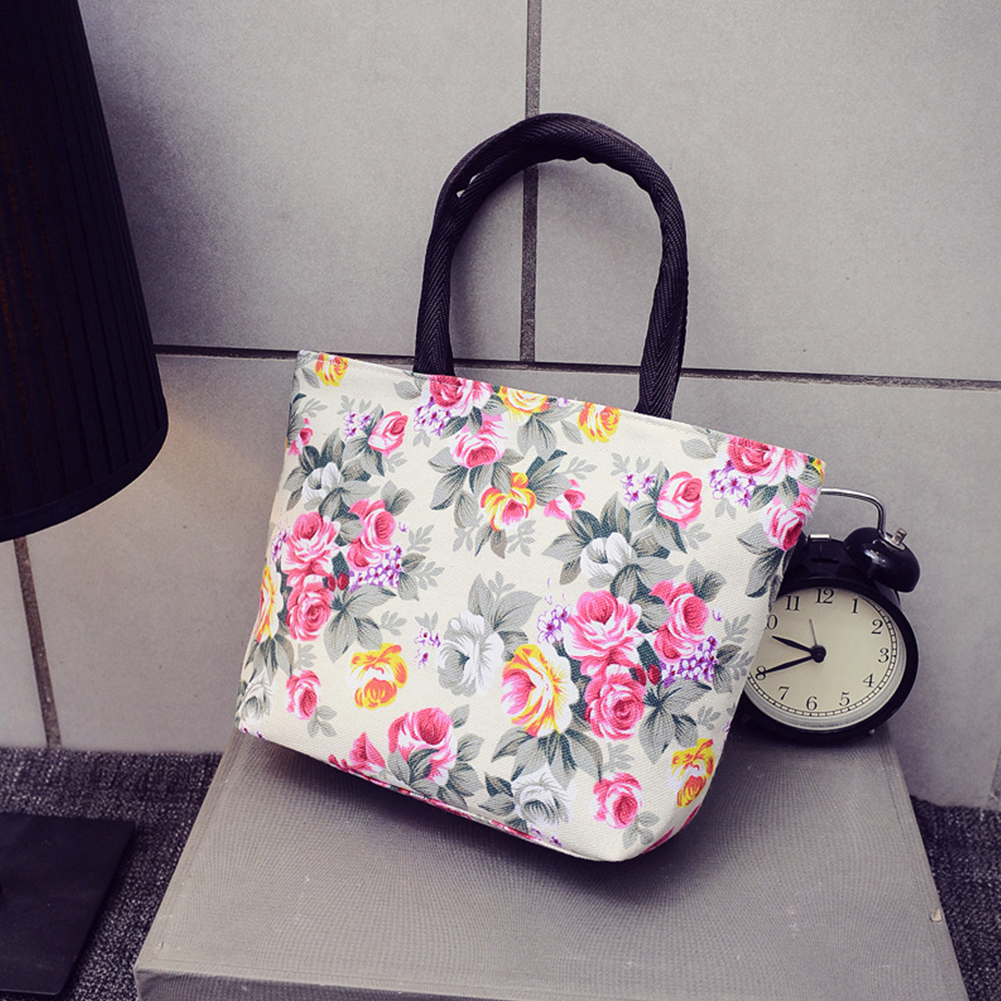 Hot Sale Canvas Bags Women Girls Printing Canvas Tote Shopping Bag Fashion Portable Shoulder Tote Zipper Bag  &