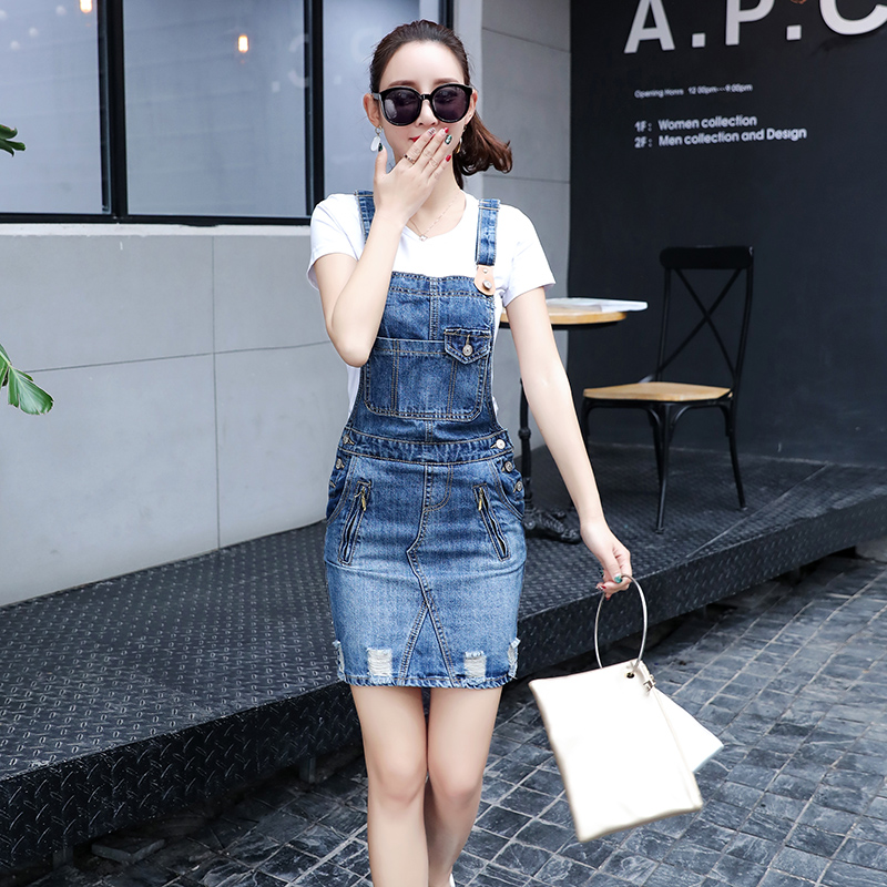 Ripped Blue Jean Dresses For Women Strap Denim Dress Bodycon Denim Overalls Dress Fake Zipper Sleeveless Suspender Denim Dress