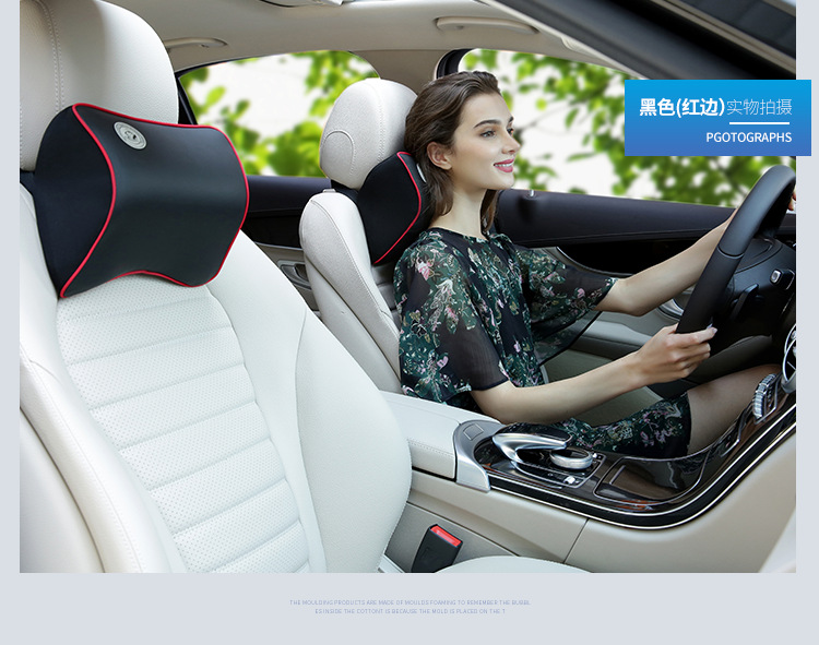 Leather Pillow Neck Pillow to Ease Fatigue Auto Headrest Lumbar Support pillow for car seat in Neck Pillow from Automobiles Motorcycles