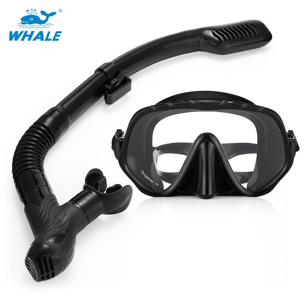 WHALE MK1000 + SK900 Diving Masks Snorkel Glasses Set Professional Diving Snorkeling Silicone Mask For Swimming Diving