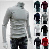 2019 New Autumn Winter Men'S Sweater Men'S Turtleneck Solid Color Casual Sweater Men's Slim Fit Brand Knitted Pullovers M-XXL