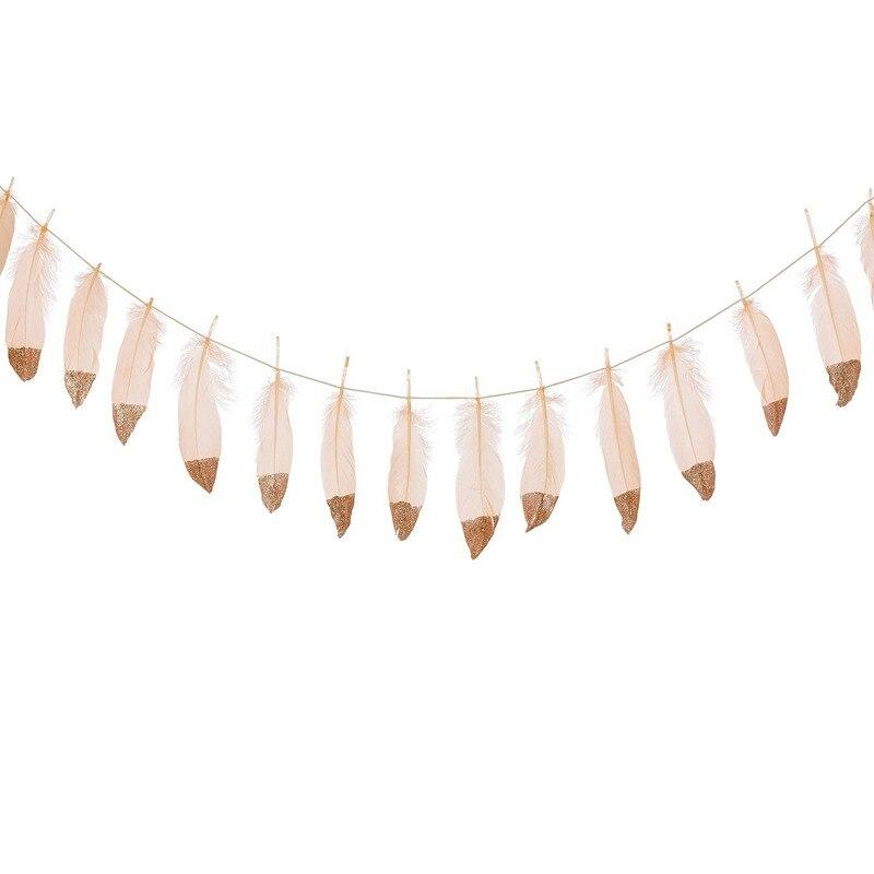 Afbc Veer Guirlande Rose Gold Glitter Gedoopt Soft Feather Banner Voor Slaapkamer Bohemian Teepee Decoraties Boho Thema Bruiloft B